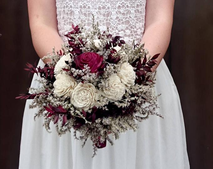 MEDIUM ivory burgundy wine rustic bouquet elegant autumn fall winter woodland wedding sola rose flower satin ribbon