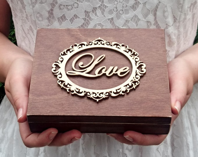 Personalized wedding rings box vintage frame love rustic woodland looking old moss sola flowers shabby chic brown hearts distressed