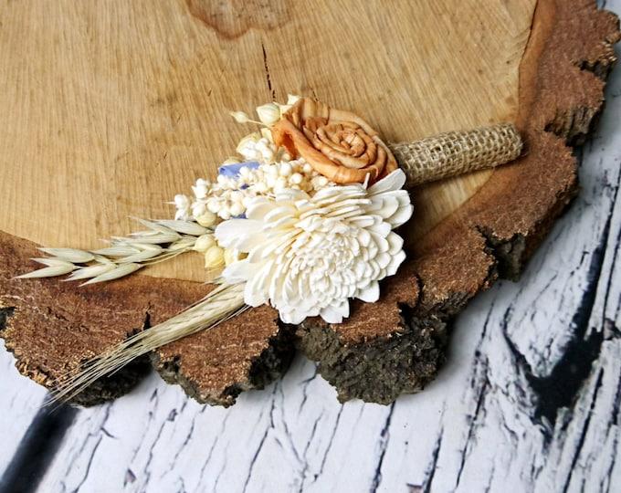 Ivory orange lavender rustic autumn fall harvest wedding BOUTONNIERE, wheat oat, grain, grass, dried, sola flower burlap, groom