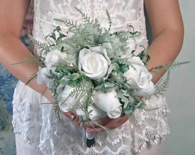 White roses dusty miller wedding bouquet frosted greenery fern scotch scotishc silk fabric flowers wedding satin ribbon stem greenery bride