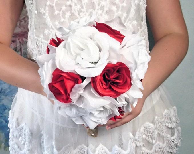 Medium snow white red rustic wedding BOUQUET Burlap Handle, Flower-girl, Bridesmaids, fabric roses vintage wedding brown custom small toss