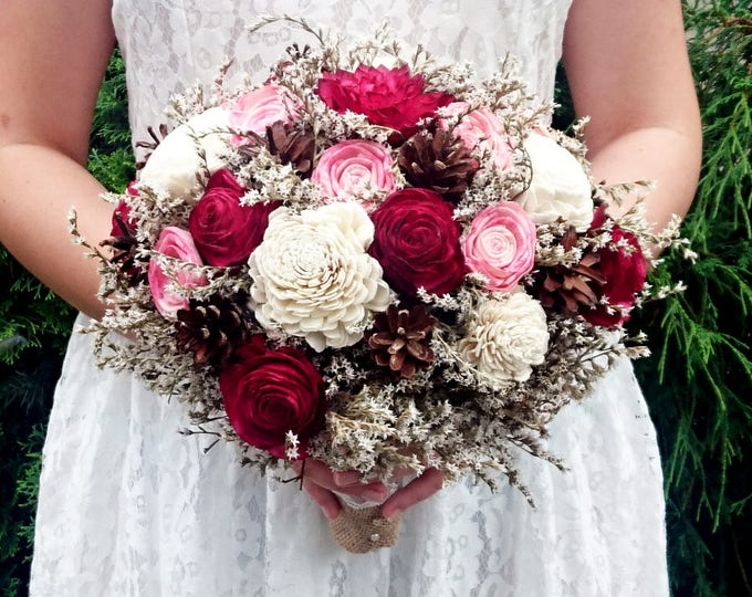 Burgundy and pink sola flowers bouquet, pine cones dried flowers bouquet, burlap lace rustic woodland wedding, bridal maroon blush marsala