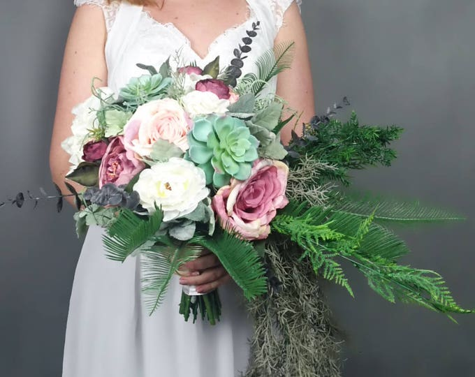 Wild cascading boho flowers wedding bouquet, blush dusty pink ivory cascade greenery succulents peony rose ferns eucalyptus long big bridal