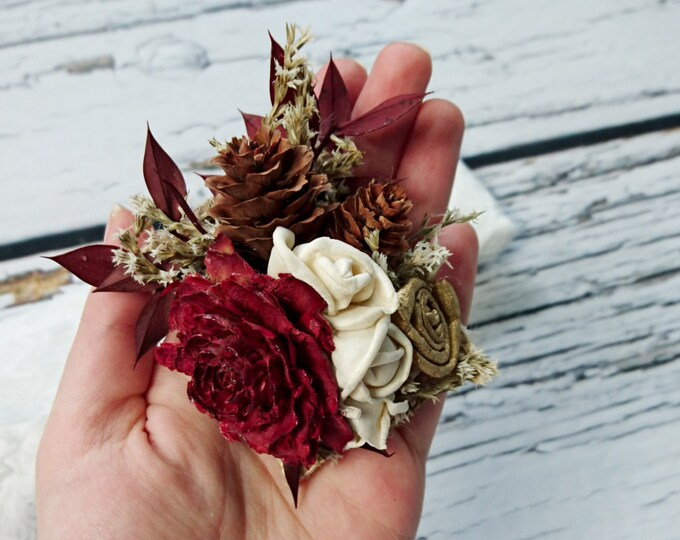 Cedar rose pine cone rustic burgundy gold wedding Rustic BROOCH CORSAGE bridesmaids Sola Flower limonium winter fall autumn wedding custom