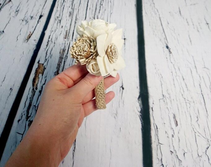 Cream brown rustic wedding BOUTONNIERE Ivory sola Flowers, Burlap groom, sola roses vintage wedding original