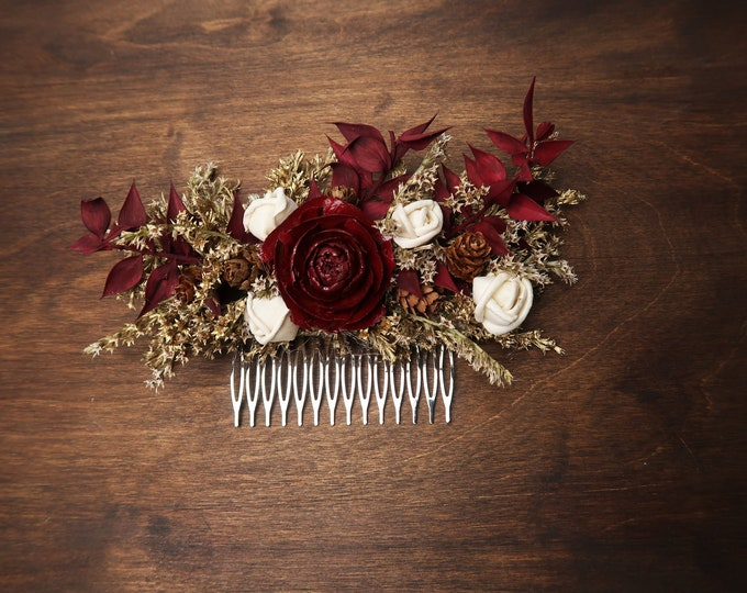 Burgundy and gold hair comb with cedar rose and dried flowers