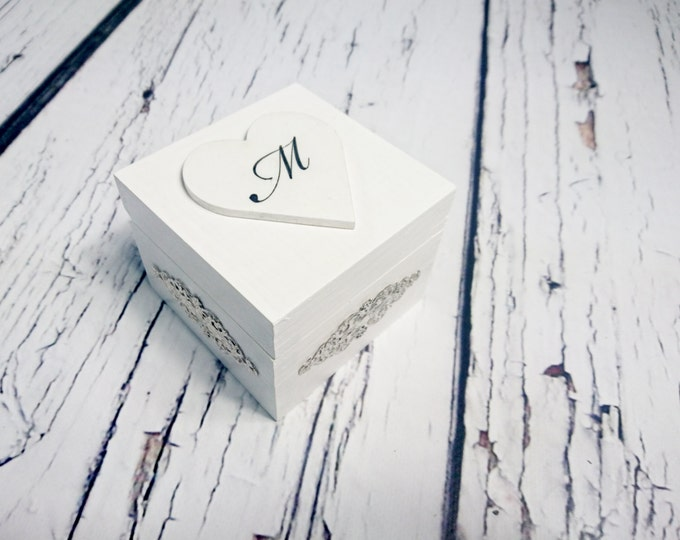 Personalized writing white silver rings box, elegant wedding, custom writings winter wedding