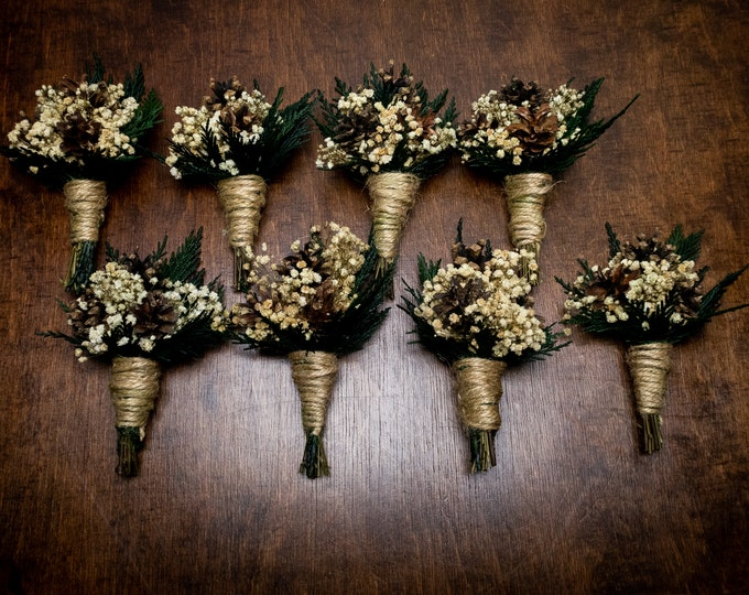 Natural winter wedding woodland pine cone boutonniere, preserved conifer and gypsophila, forest greenery,jute twine, realistic flowers