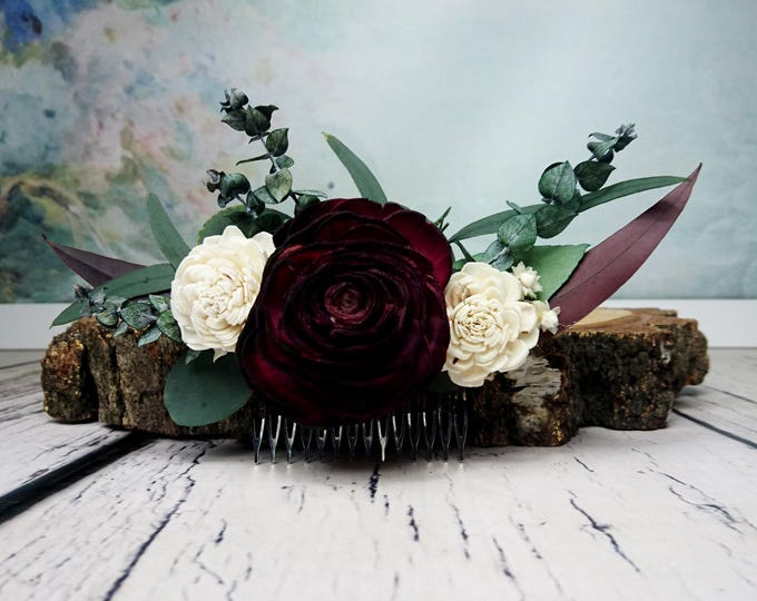 Preserved eucalyptus hair comb Ivory dark burgundy boho wedding Bridal hairpiece Sola Flower greenery accessory maroon