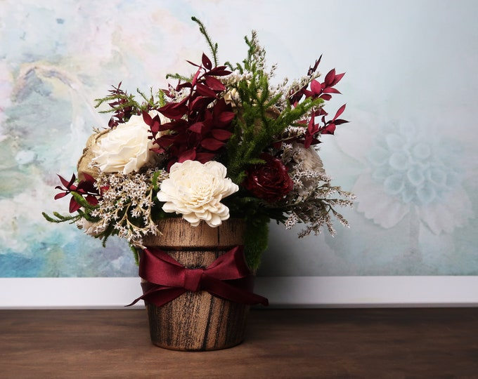 Burgundy, green and gold rustic wedding centerpiece made of Sola Flowers