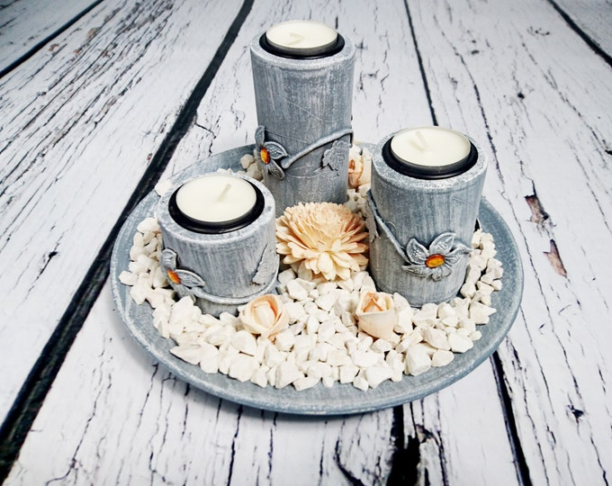 Wooden candleholders set centerpiece round plate 3 holders silver orange peach white elegant stones table decor cheap wedding decoration