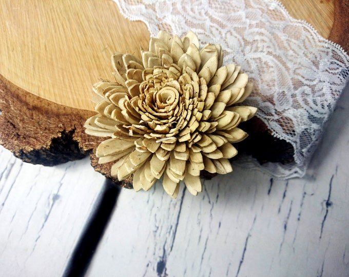 Skin Sola wooden bark Flowers Wedding decoration brown ivory diy bouquet floral supply natural rustic 4 pcs 8cm zinnia table decor