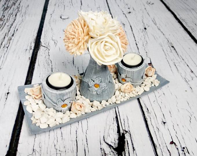 Wooden candle holders set wedding centerpiece in silver and peach