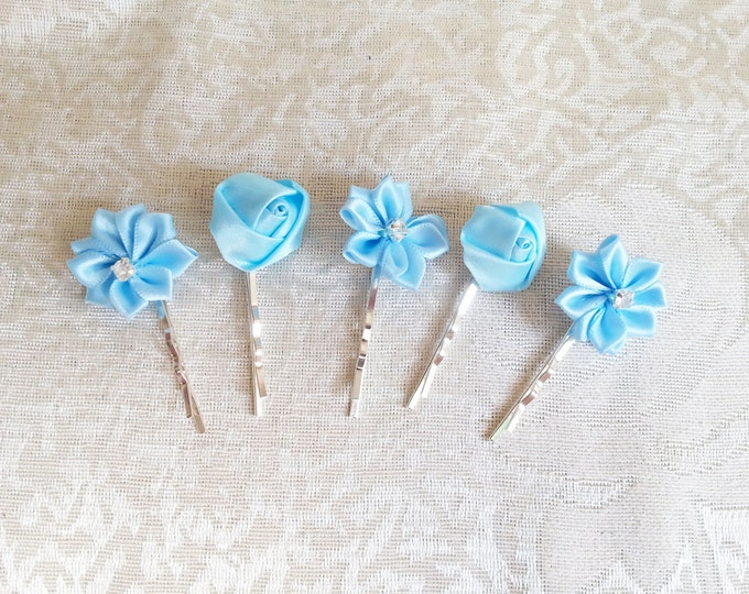 Set of 5 Bobby pin wedding hair clips hand made satin ribbon flower delicate light blue baby flowergirl prom