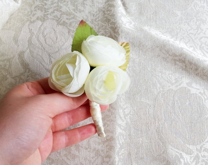 Off white ivory boutonniere pale green peonies flower wedding custom corsage creme green satin ribbon peony groom