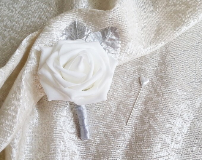 White foam rose silver glitter brooches silver flowers wedding boutonniere corsage satin ribbon custom