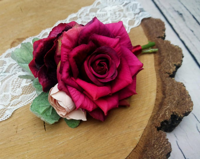 Wedding boutonniere burgundy pink realistic silk flowers dusty miller flocked leafs greenery marsala wine rose hydrangea groom groomsman