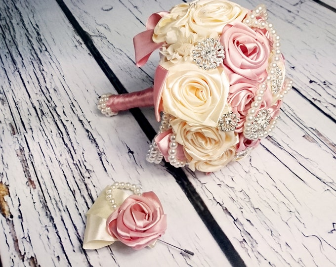 Handmade satin ribbon flowers wedding BOUQUET, dusty pink ivory creme pearls sparkling brooches cotton lace, vintage style bridal bouquet