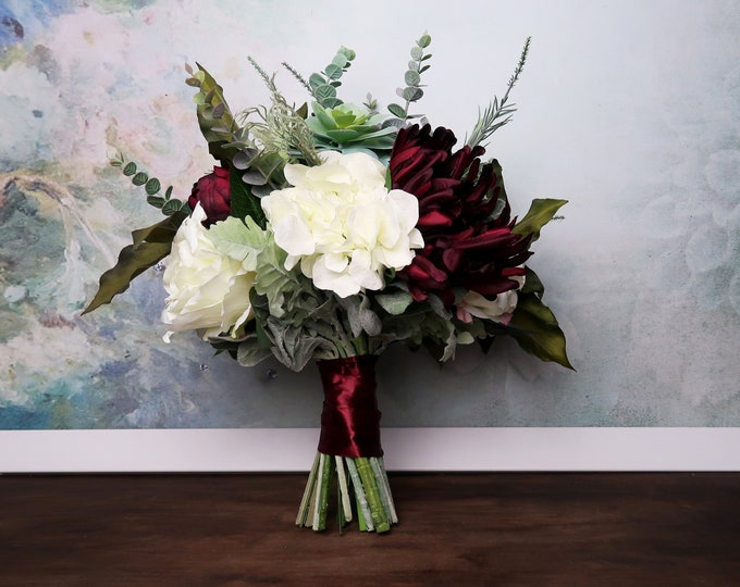 Big wedding bouquet, realistic silk flowers in burgundy and ivory, green succulents dusty miller greenery, elegant bridal bouquet
