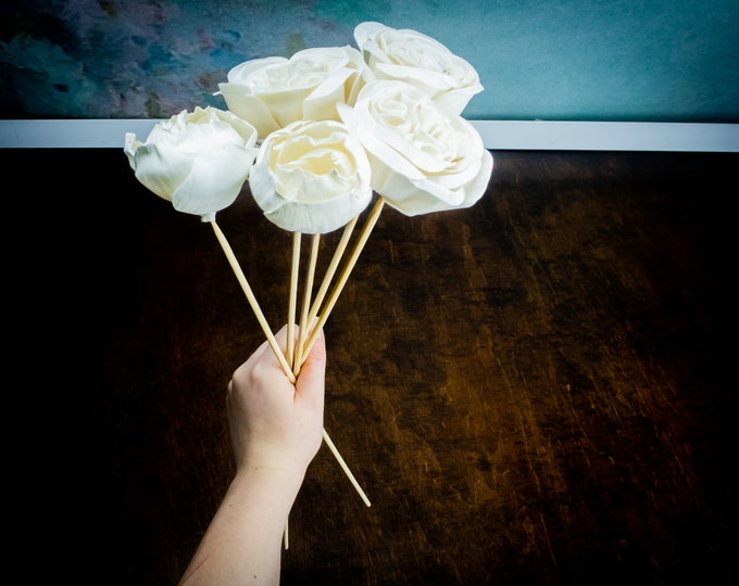 "Natural bamboo sticks stems for sola flowers, diy wedding bouquet,  15 3⁄4"" flowers stem"
