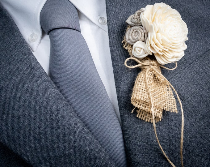 Ivory and gray rustic wedding groom boutonniere, sola flowers and burlap, floral brooch for mother of bride