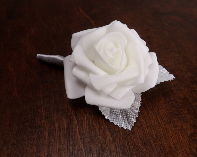 White foam rose silver leaves simple wedding boutonniere, winter wedding corsage satin ribbon