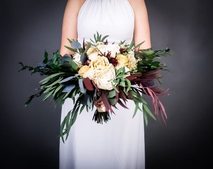 Bohemian wedding bouquet in champagne, ivory and burgundy, preserved eucalyptus sola flowers, cascading greenery, Groom boutonniere flowers