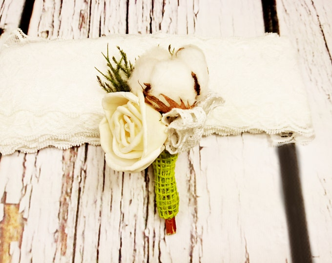 Natural cotton boll and greenery boutonniere sola flower cypress rustic summer spring woodland wedding lace boho green alternative