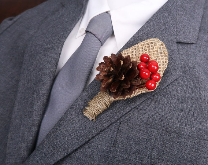 Winter wedding rustic pine cone burlap boutonniere with red berries, woodland wedding, Groom flowers