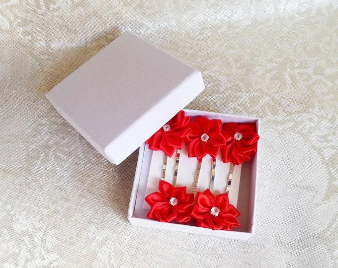 Red hair clips Set of 5, wedding hair pins pin-up girl, hand made satin ribbon flower
