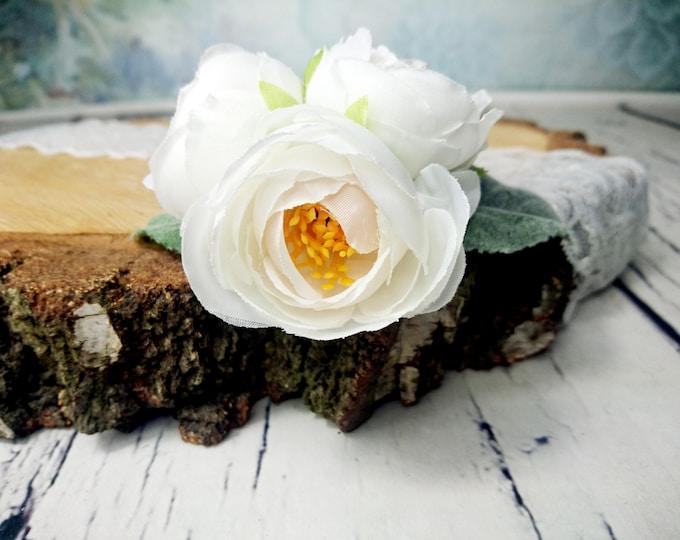 Bobby pin wedding bridal hair piece, flower clip greenery silk flower, peony hair clip, simple flower clip flocked leaves elegant