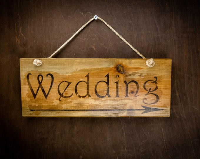 "Wedding board sign hanging ""wedding"" rustic wedding wedding decor woodland distressed reclaimed old wood"