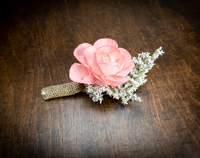 Living Coral reef rustic wedding boutonniere, Groom's flower, burlap boutonniere, sola Flower dried german statice, beach summer wedding