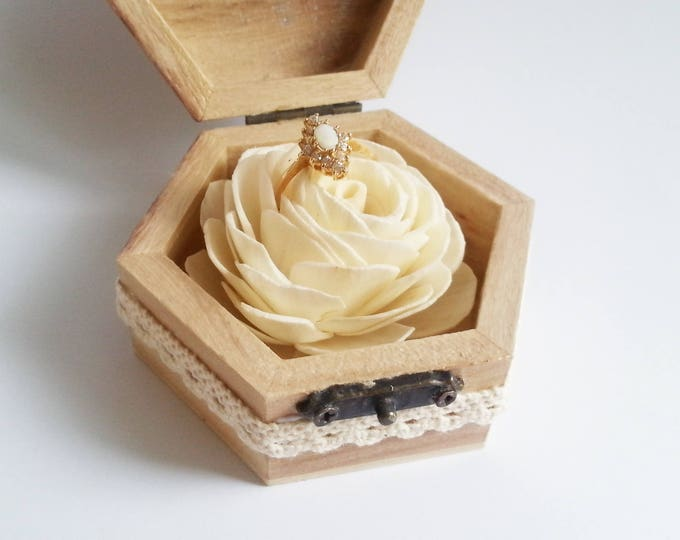 Sola flower Engagement ring box rustic style cotton lace shabby chic brown cream lace sola rose birch bark heart small box proposal
