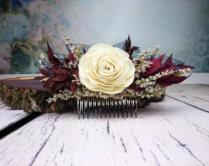 Burgundy, ivory and blue rustic HAIR COMB with sola flower, preserved eucalyptus and skeleton leafs