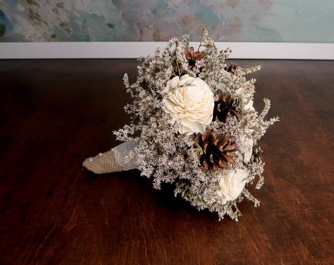Winter wedding rustic wonderland small bridal bridesmaid BOUQUET Ivory Flowers, pine cones,  sola roses,  lace pearl pins dried flowers