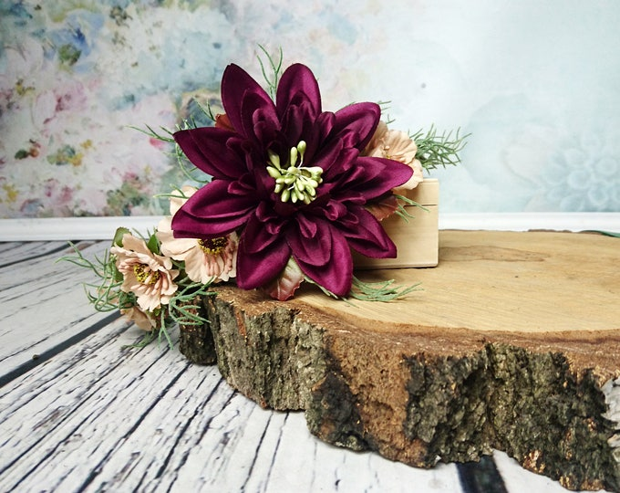 Rustic floral CROWN burgundy beige brown pale greenery dahlia cherry flower ferns boho woodland wedding satin ribbon Bridal Hairpiece