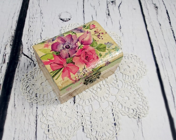 Flower wedding rings box bearer romantic delicate spring decoupage ring pillow rustic woodland natural shabby chic brown cream personalized