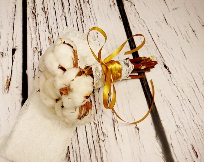 Natural cotton bolls gold SMALL rustic wedding BOUQUET autumn, winter, winterwonderland, elegant bouquet,  lace bridesmaid
