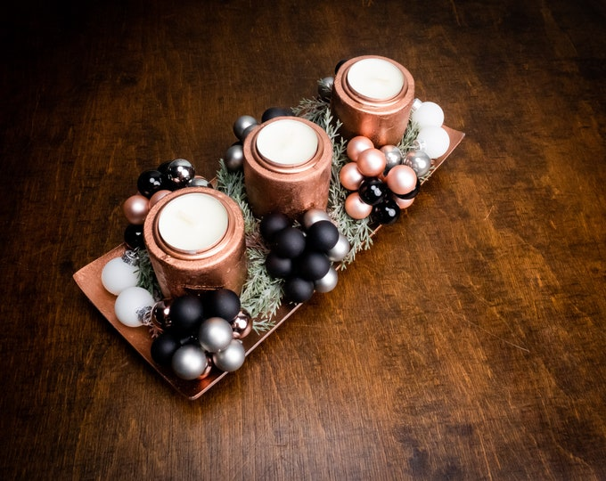 Copper and black winter wedding table centerpiece with candles, modern Christmas dinner decor, artificial fir, glass ornaments floral decor