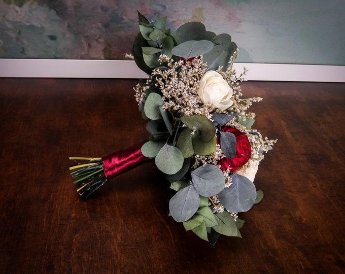 Deep red boho wedding bouquet preserved eucalyptus, ivory sola flowers dried flowers vintage style bridal flowers
