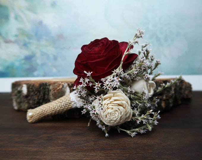 Ivory burgundy sola rose flower groom boutonniere southwestern rustic desert wedding burlap lace dried flowers autumn fall