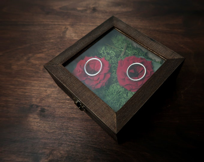 Preserved red rose wedding ring box moss eucalyptus natural flowers woodland rustic style wood and glass ring bearer stabilized flower