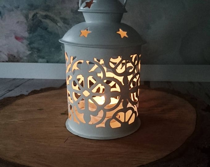White Moroccan candle lantern lovely wedding centerpiece party decor metal woodland outdoor home shabby chic Rustic vintage