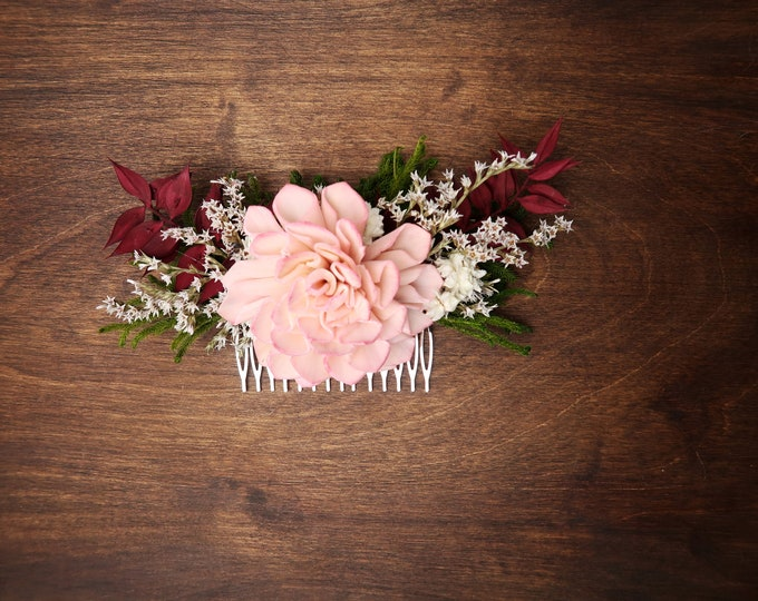 Blush pink green burgundy rustic woodland HAIR COMB Sola Flower greenery cypress dried flowers burlap hair piece bridal accessory maroon