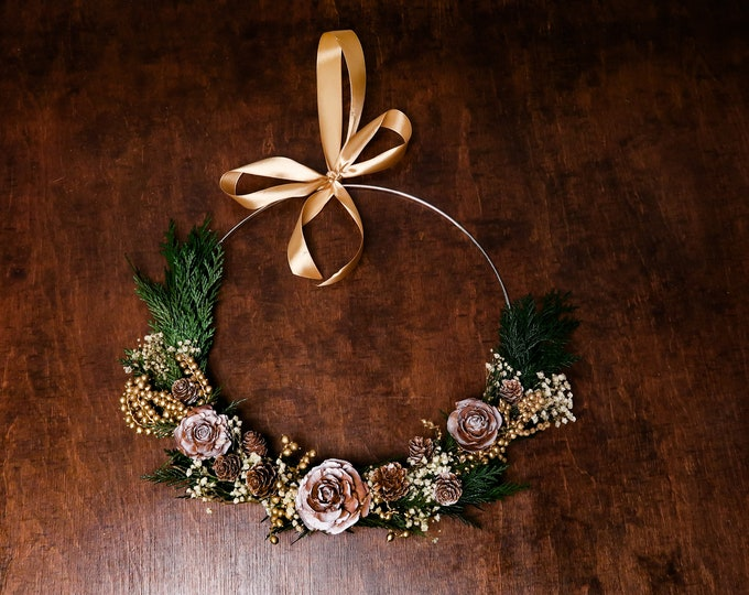 Modern elegant winter wreath, gold Christmas wedding decoration pine cones real greenery baby's breath, woodland hoop bridesmaid bouquet