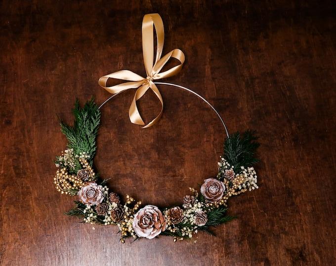 Modern elegant winter wreath, gold Christmas wedding decoration pine cones real greenery baby's breath, woodland hoop bridesmaid bouquet