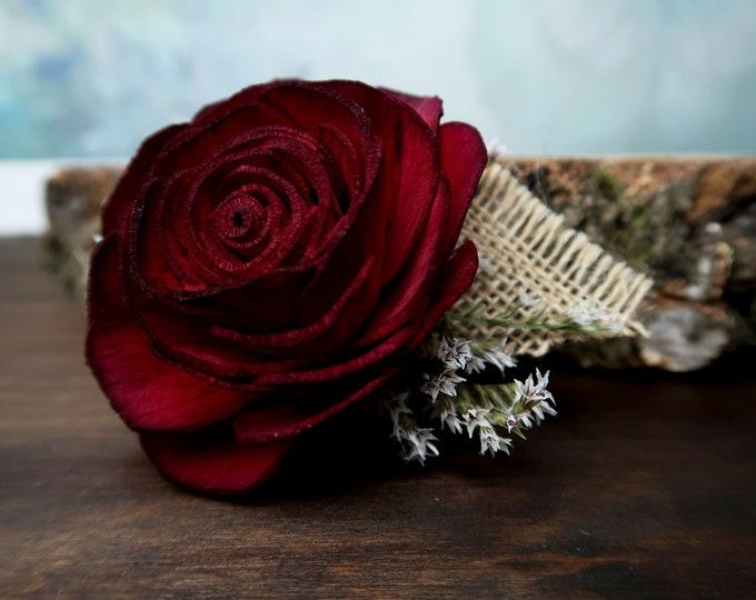 Burgundy wine rose wrist brooch corsage ivory sola flowers dried flowers mother of bride southwestern wedding flower