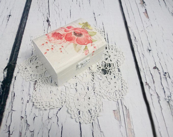 White red poppy flower rings box Decoupage romantic delicate spring  pillow woodland natural shabby chic cottage cream