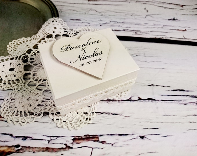 Wedding rings box engagement ring box wedding pillow cotton lace shabby chic white creme custom personalized writings